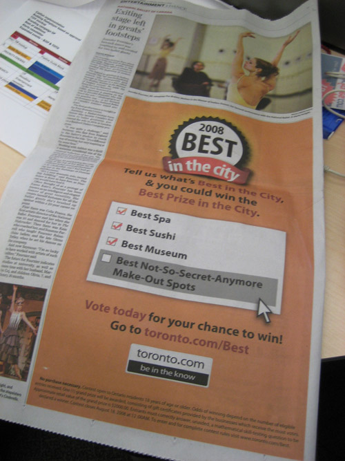 Best In the city newspaper ad
